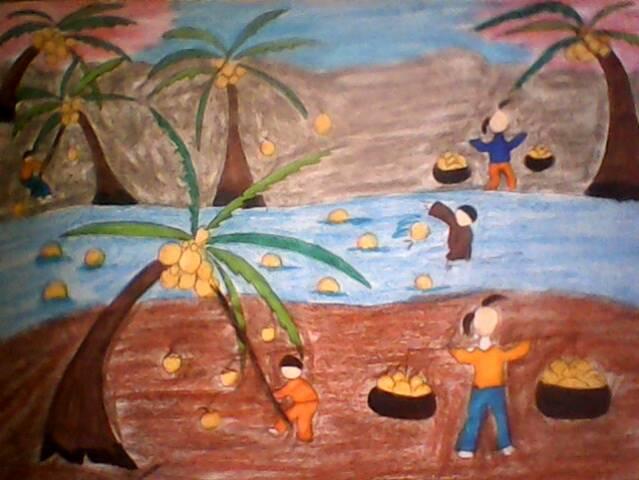 vẽ tranh quê hương em xứ dừa