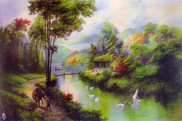 Vẽ tranh đề tài thiên nhiên - Hình ảnh quê hương với sông nước