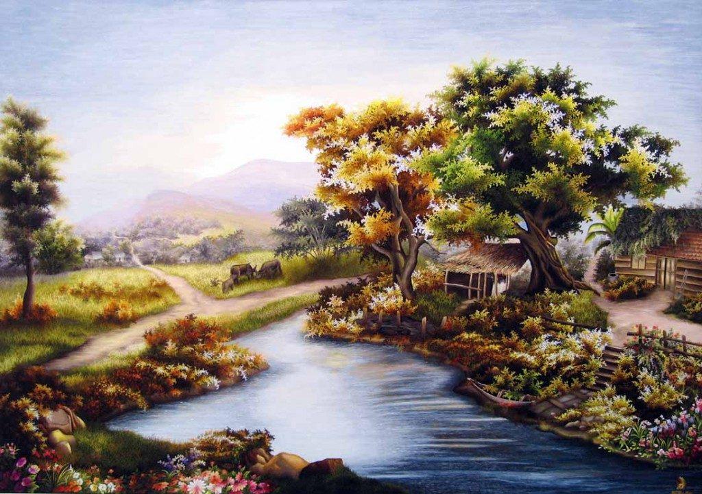 Vẽ tranh đề tài thiên nhiên với sự bình yên